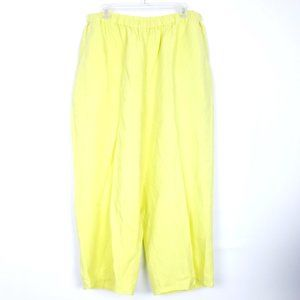 FLAX lagenlook pull on pants 100% linen citron